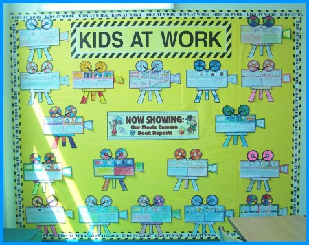 Movie Camera Book Report Projects Bulletin Board Display Elementary Students