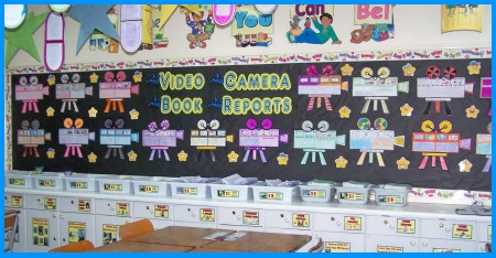 Fun Book Report Projects Movie Cameras Bulletin Board Displays Example for Reading
