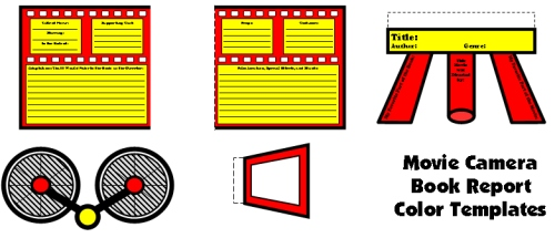 Movie Camera Color Book Report Projects, Templates and Graphic Organizers