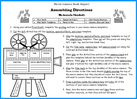 Movie Camera Book Report Projects Assembling Directions For Templates