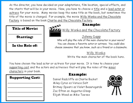 movie camera book report project templates worksheets rubric  writing a movie review book report reading response worksheets