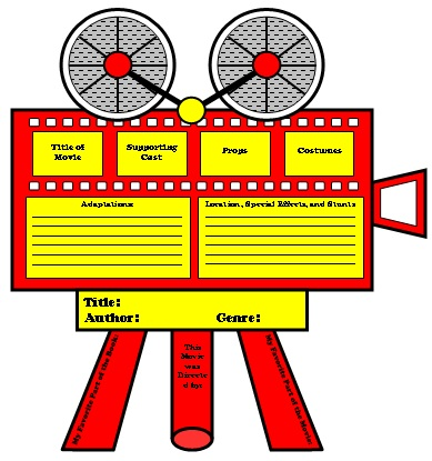 Movie Camera Book Report Projects, Templates and Graphic Organizers