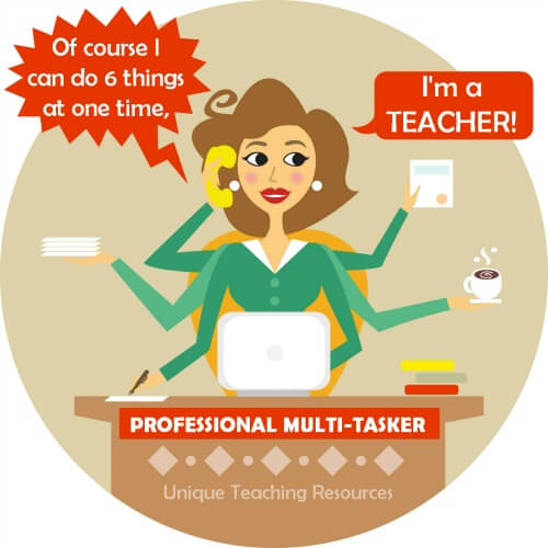 Busy multi-tasking teacher