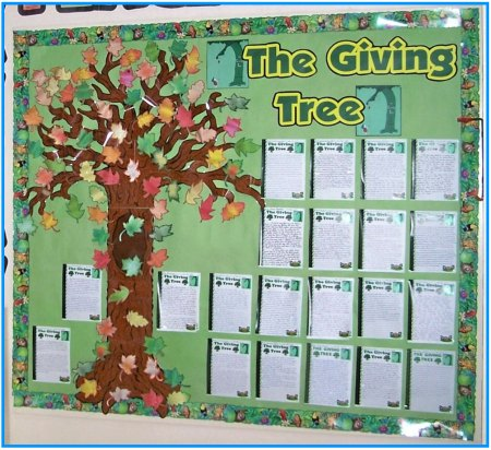 giving tree bulletin board ideas on birthday cake message for self
