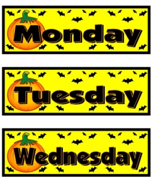 Example of free days of the week October classroom calendar set