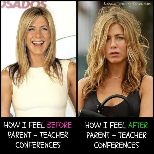 Funny teacher meme:  How I feel before and after parent conferences