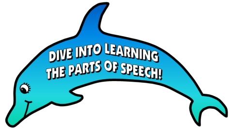 Teaching Resources for the 8 parts of speech bulletin board display examples with dolphin templates