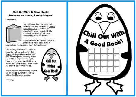 Penguin Reading Sticker Charts for Winter:  Parent Letter