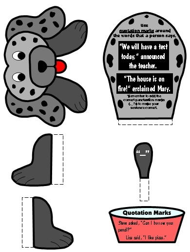 Quotation Marks Punctuation Mark Bulletin Board Display Grammar Resources Set
