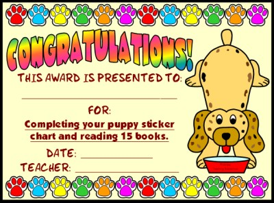 Sticker Charts Award Certificate:  Puppy Reading Sticker Chart Set
