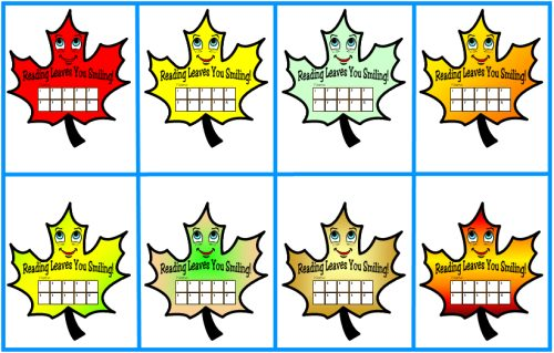 Reading Leaf Sticker Charts and Templates for Fall, Autumn and Thanksgiving