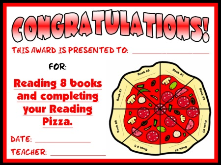 Reading Award Certificate for Pizza Sticker Chart for Students