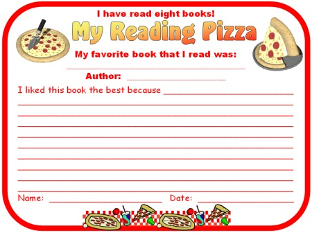 Printables Independent Reading Worksheets genre pizza reading sticker charts add pizzazz to books my favorite book that i read student response form worksheet