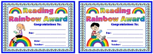 Free Reading Rainbow Student Award Certificate