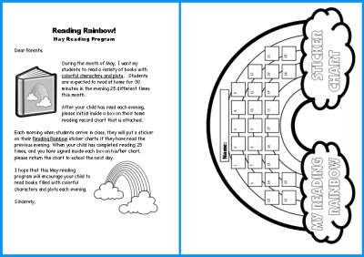 Reading Rainbow Sticker Chart Home Reading Program Parent Letter
