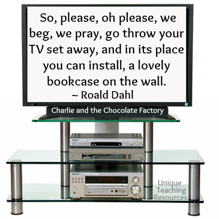 So please, oh please, we beg, we pray, go throw your TV set away, and in its place you can install, a lovely bookshelf on the wall.