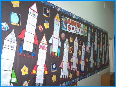 Rocket Book Report Project Bulletin Board Display of Student Projects with Templates