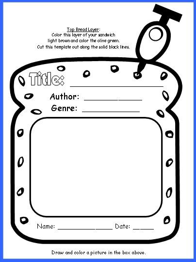 Sandwich book report project templates printable for Sandwich template for writing