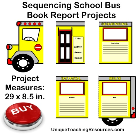 Creative Book Report Project Ideas:  Sequencing School Bus Templates