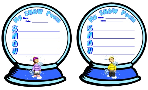 Snow Globe Templates for S.N.O.W. Acrostic Poetry Poem