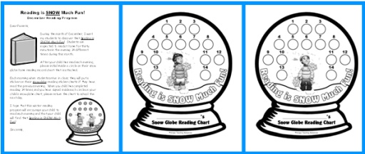 Snow Globe Reading Sticker Chart Set Parent Letter
