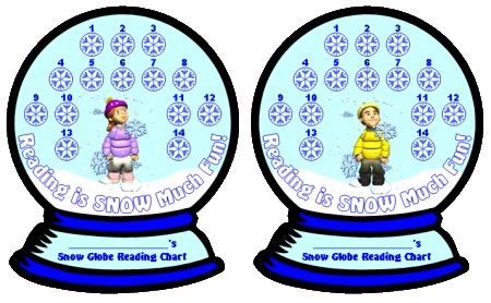 Winter Snow Globe Reading Sticker Chart Set and Templates