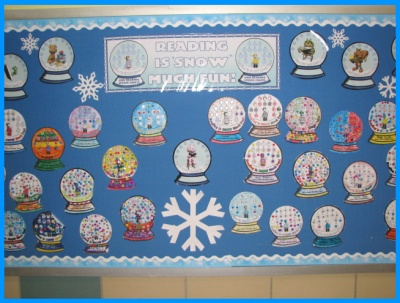 Snow Globe Sticker Chart for Winter Classroom Bulletin Board Display Example