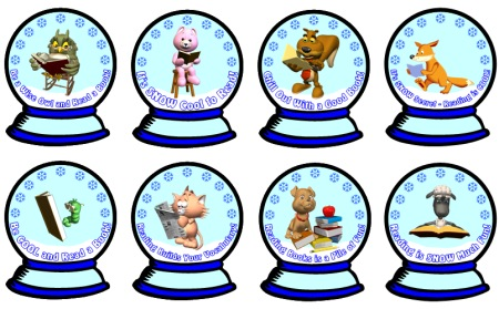 Snow Globe Reading Sticker Charts Bulletin Board Display for Winter Accent Pieces