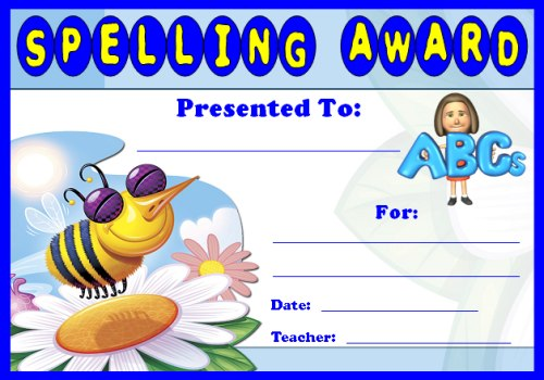 spelling award certificate for