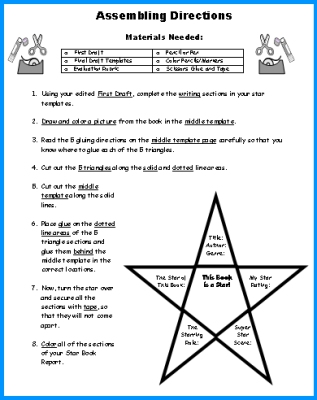 Book Report Projects Assembly Directions Star Shaped Project