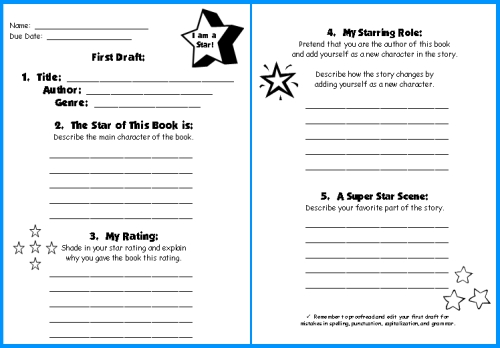 book report sheet for first grade
