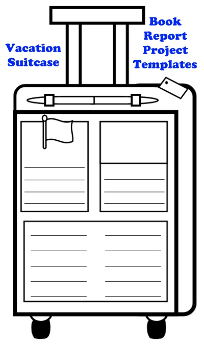Vacation Suitcase Templates:  Fun Main Character Book Report Project