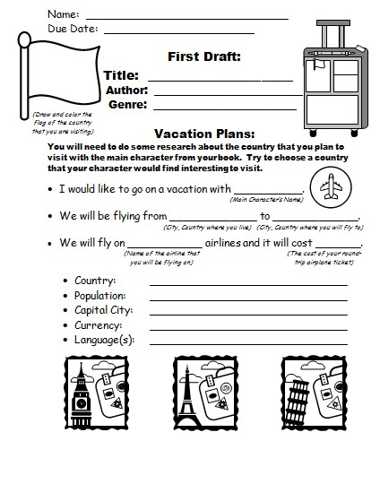 Main character vacation suitcase book report project.