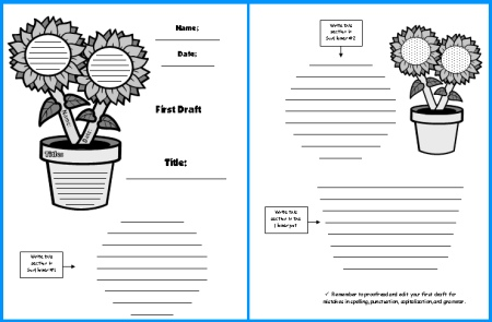 Sunflower Creative Writing First Draft Writing Worksheets