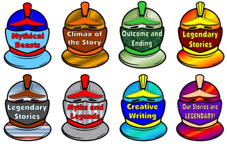 Lesson Plan Display for Writing Myths Knight Helmets