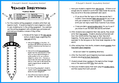 Writing Myths and Legends Teacher Directions Page