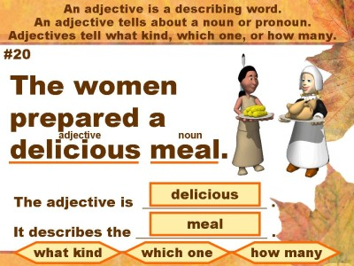 Thankgiving English Grammar Adjective Powerpoint Lesson