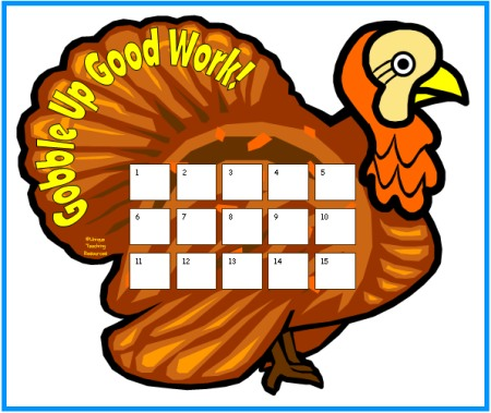 Fall and thanksgiving sticker charts for Turkey template for bulletin board