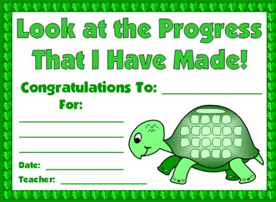 Turtle Sticker Charts Award Certificate