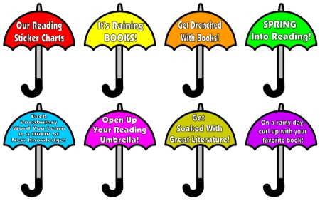 April Spring Reading Bulletin Board Display using Umbrellas