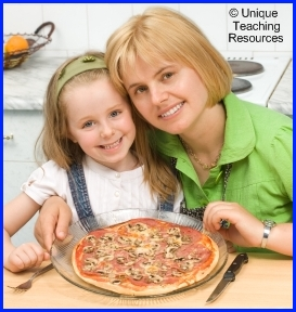 Elementary School Student and Teacher Making a Pizza Project