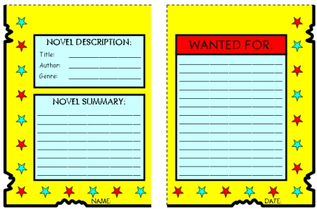 Creative Book Report Wanted Poster Templates