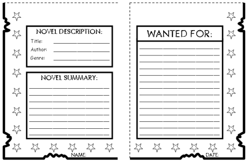Wanted Book Report Projects and Templates for Main Character