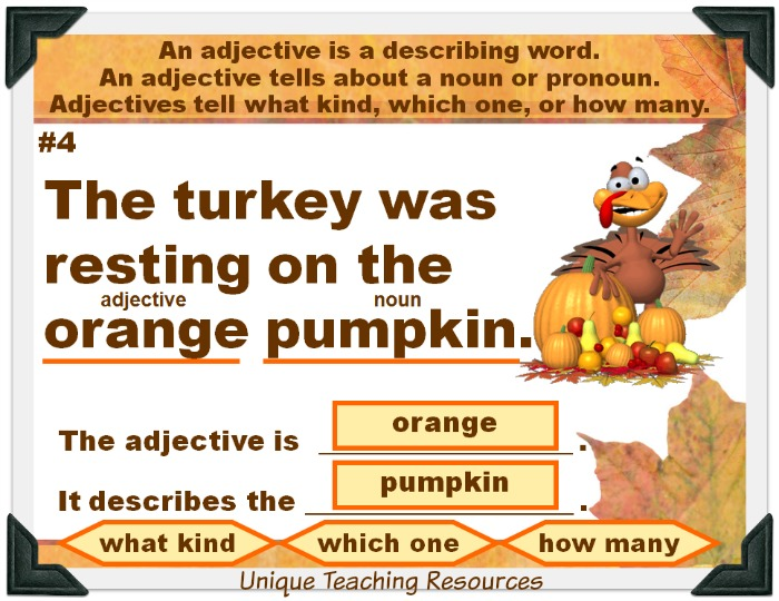 Review adjectives with your students using this fun Thanksgiving powerpoint presentation.