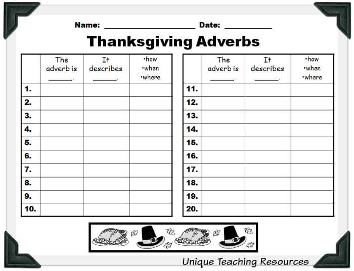 Student worksheet for Thanksgiving adverbs powerpoint lesson.