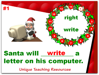 Christmas powerpoint lesson that reviews homophones.