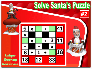 This Christmas math puzzles powerpoint lesson reviews addition, subtraction, and multiplication.