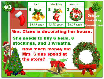 This Christmas math word problems powerpoint lesson reviews addition, subtraction, and multiplication.