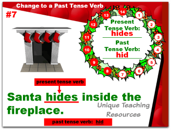 Christmas powerpoint lesson that reviews past and present tense verbs.