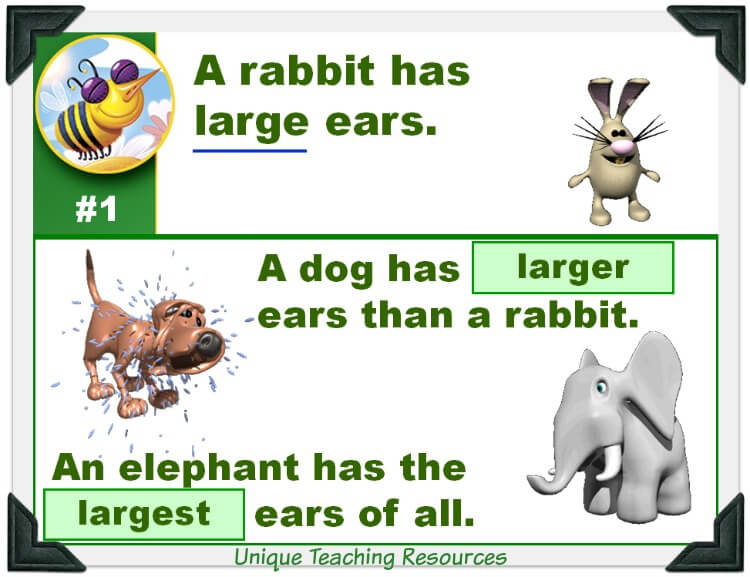 This fun powerpoint lesson reviews comparative and superlative words.